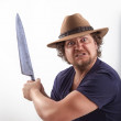 Attacker with big knife — Stock Photo #49234529