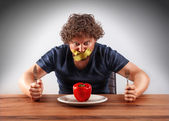 Gagged man wants to eat — Stock Photo