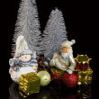 Christmas decoration on a black background — Stock Photo