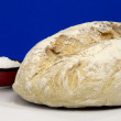 Stock Photo: White homemade bread and salt