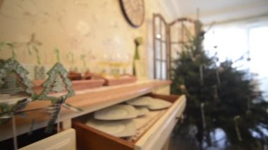 Wooden christmas tree ornaments 1080p — Stock Video