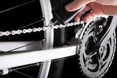 Bicycle chain oiling — Stock Photo