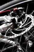 Freno de disco de bicicleta freno de disco .rear en bicicleta de montaña — Foto de Stock