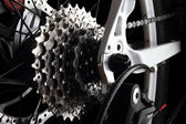 Bicycle gears and rear derailleur — Stock Photo