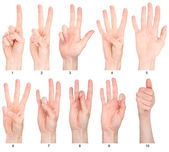 Numbers 1-10 in sign language — Foto Stock