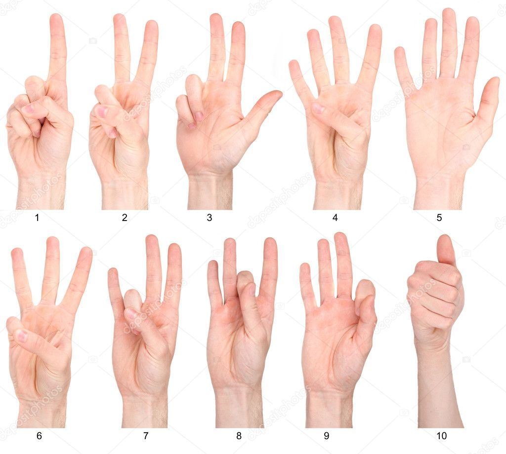 Numbers 1 10 in sign language stock photo 169 gielmichal 17603183