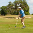 Hitting the Driver off the Tee Box — Stock Photo