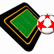 Foto Stock: Football field and ball