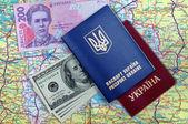 Passports, money and map — Stock Photo