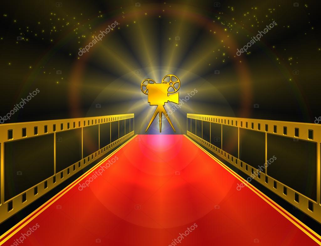 Red carpet with movie camera — Stock Photo #18723015