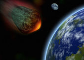 Collision of the asteroid and planets — Stock Photo