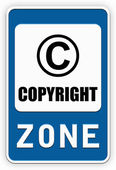 Sign COPYRIGHT zone — Stock Photo