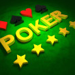 Stock Photo: Golden word POKER, card sign and stars