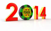 2014 golden number and chips — Stock Photo