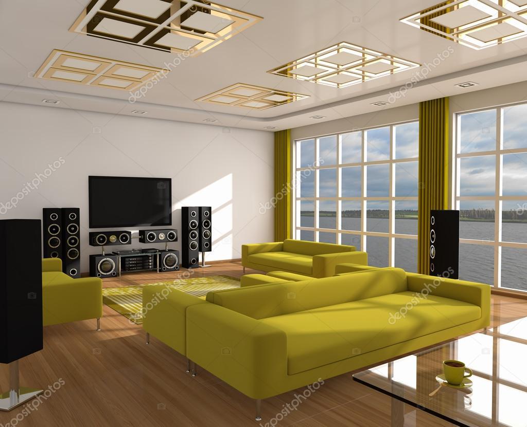 Interieur van het moderne leven Roomservice 3d — Stockfoto ...