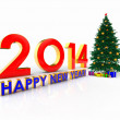 Happy new year, 2014 golden number and  fir tree — Stock Photo