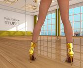 Pole dance studio and girl — Stock Photo