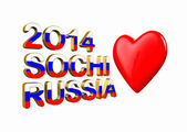 2014, Sochi, Russia and Heart 3d — Stock Photo