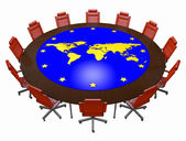 Office chairs and round table with card of the world — Stock Photo