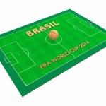 Soccer filed and golden soccer ball BRASIL 2014 — Stock Photo #45125373
