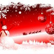 Vector Christmas Background - Red sky — Imagen vectorial