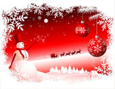 Vector Christmas Background - Red sky — Stock Vector