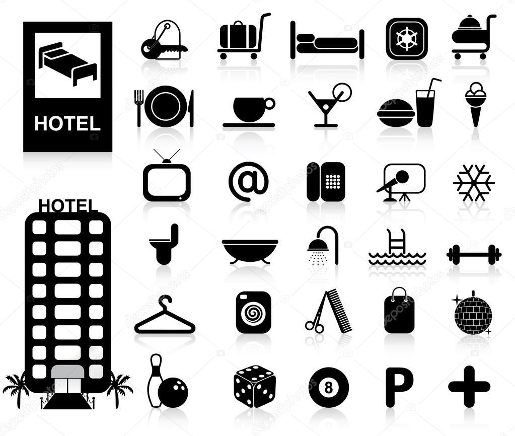 Hotel Building Icon Vector Hotel Icons Set Vector