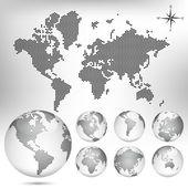 Vector gestippelde kaart en globe van de wereld — Stockvector