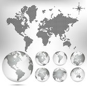 矢量虚线的地图和全球范围内的世界 — 图库矢量图片