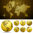 Vector dotted Map and Globe of the World - GOLD — Stock Vector