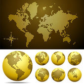 Vector dotted Map and Globe of the World - GOLD — ストックベクタ