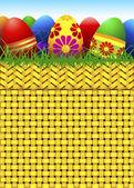 Vector basket full of Easter eggs — Stock Vector