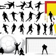 Vector Soccer Players Silhouettes — Stock Vector