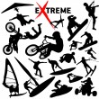 Vector eXtreme sport silhouettes — Stock Vector