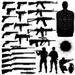Vector silhouettes of various weapons — Stock Vector #42879357