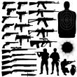 Vector silhouettes of various weapons — Stockvector