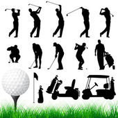 Vector Golfer Silhouettes — Stock Vector