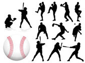 Baseball Player Silhouettes — Stock Vector
