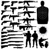 Vector silhouettes of various weapons — Stockvektor