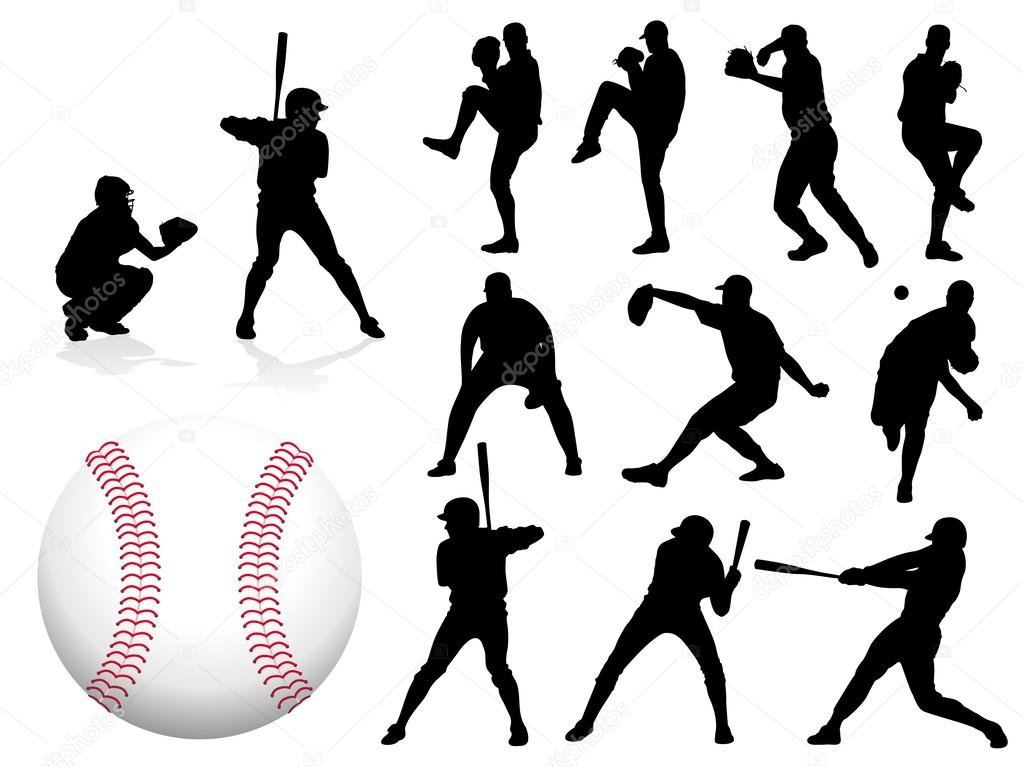 Sequence of baseball player batting silhouettes  Vector