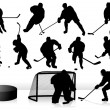 Vector Hockey Players - Silhouettes — Stock Vector