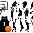 Basketball Player Silhouettes - Vector — Stock Vector #42880277