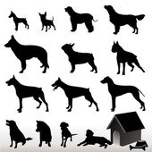 Dog Silhouettes - Vector. — Stock Vector