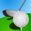 Ball and stick golf — Stockvectorbeeld