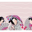 Traditional Japanese woman - Stock Vector