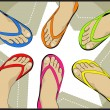 Leg wear colorful sandals - Stock Vector