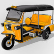 Unique three wheeled taxi — Stock Vector