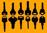 Silhouettes of various key — Stock Vector