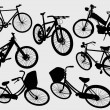 Stock Vector: Some bicycle silhouette