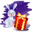 Rabbit with Gift — Stock Vector
